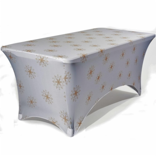 Iceberg 16723 6 ft. Golden Crystals Stretch Fabric Table Cover Perspective: front