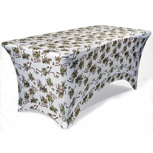 Iceberg 16724 6 ft. Hollies Stretch Fabric Table Cover Perspective: front