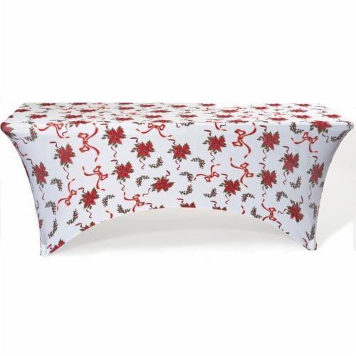 Iceberg 16725 6 ft. Poinsettias Stretch Fabric Table Cover Perspective: front