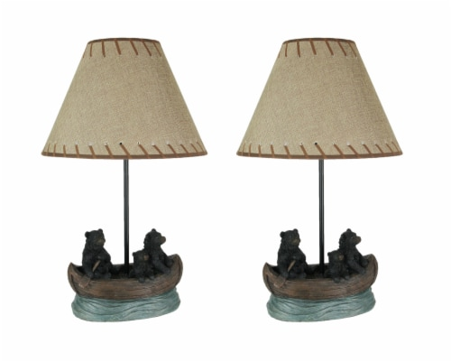 Set of 2 Black Bear Family Canoe Trip Table Lamps With Burlap Shades Lodge Decor Perspective: front