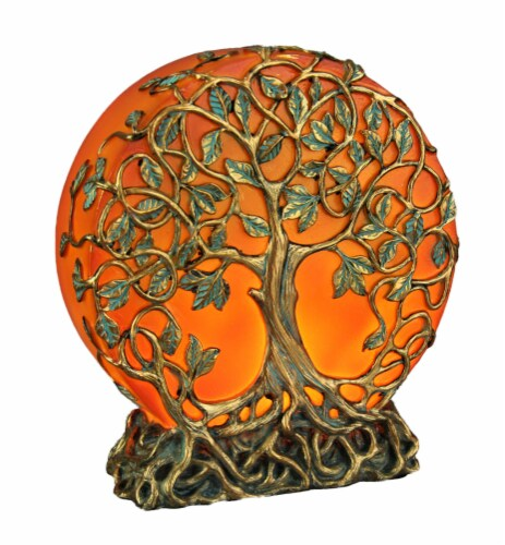 Orange Druid Tree of Life Plug-In Night Light Statue Perspective: front