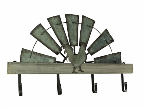 Half Metal Windmill Farmhouse Rooster Decorative Wood Wall Hook Rack Perspective: front