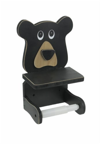 Whimsical Hand Painted Black Bear Wooden Toilet Paper Roll Holder With Phone Shelf Perspective: front