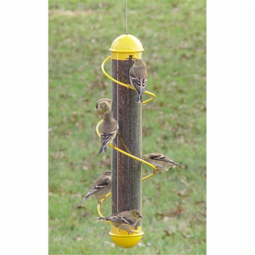 17 Inch Yellow Spiral Finch Tube Feeder Perspective: front