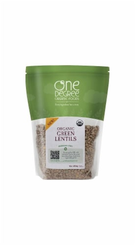 One Degree Organic Green Lentils Perspective: front