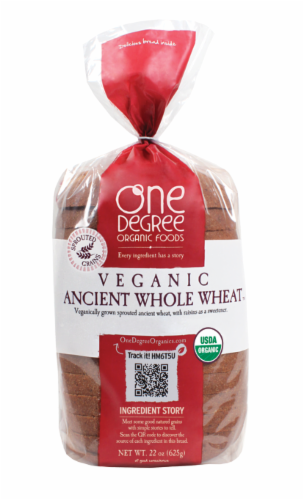 One Degree Organic Foods Veganic Ancient Whole Wheat Bread Perspective: front