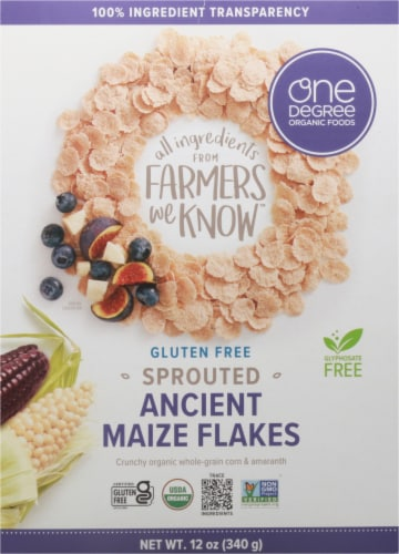 One Degree Organic Foods Ancient Maize Flakes Perspective: front