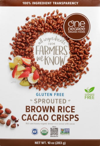 One Degree Organic Foods Gluten Free Sprouted Brown Rice Cacao Crisps Perspective: front