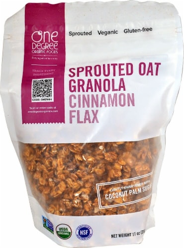 One Degree Organic Foods  Organic Sprouted Oat Granola   Cinnamon Flax Perspective: front