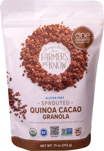 One Degree Organic Foods  Organic Sprouted Oat Granola   Quinoa Cacao Perspective: front