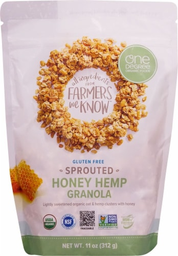 One Degree Organic Foods  Organic Sprouted Oat Granola   Honey Hemp Perspective: front