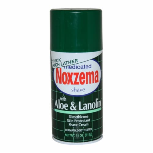 Noxzema Medicated Shave Cream with Aloe and Lanolin 11 oz Perspective: front