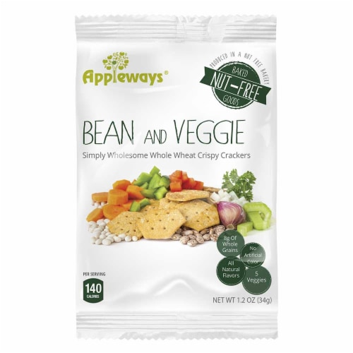 Appleways Whole Grain Bean and Veggie Cracker, 1.2 Ounce -- 108 per case. Perspective: front