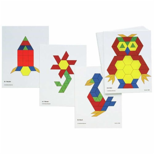 Learning Advantage CTU8837BN Pattern Block Activity Cards, Pack of 3 Perspective: front