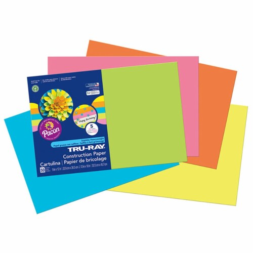 Pacon PAC6597BN 12 x 18 in. Tru Ray Hot Assorted Fade Resistant Construction Paper - Pack of Perspective: front