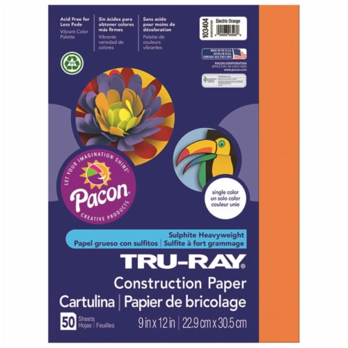 Pacon PAC103404BN 9 x 12 in. Tru Ray Electric Orange Fade Resistant Construction Paper - Pack Perspective: front