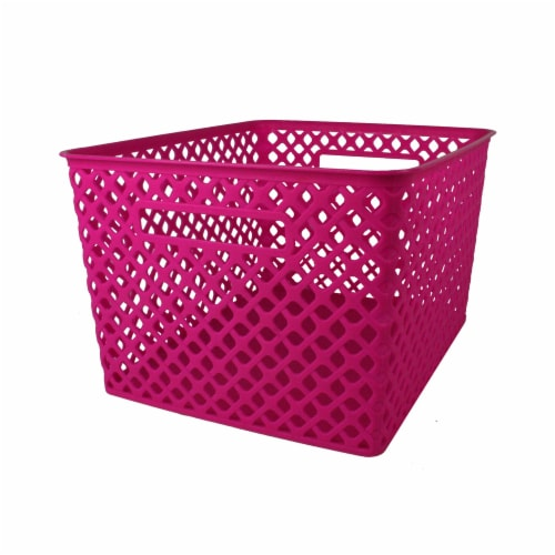Romanoff Products ROM74207BN Large Hot Pink Woven Basket - Pack of 3 Perspective: front