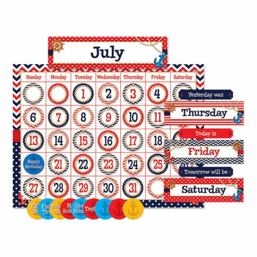 Teacher Created Resources TCR5492BN Nautical Calendar Bulletin Board Set - Set of 2 Perspective: front
