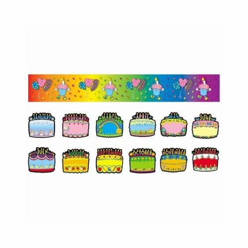 Carson Dellosa CD-1726BN Birthday Cakes Bulletin Board Set - Set of 2 Perspective: front