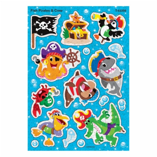 Trend Enterprises T-63356BN Fish Pirates & Crew Sparkle Stickers, Pack of 6 Perspective: front