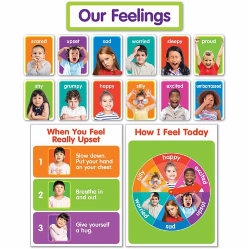 Scholastic Teaching Resources SC-834481BN Our Feelings Bulletin Board Set, Set of 2 Perspective: front