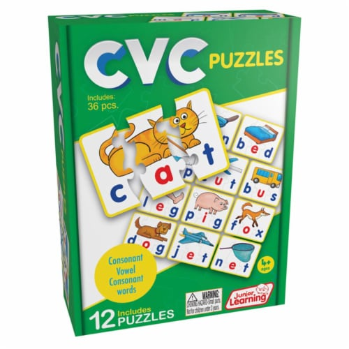 Junior Learning JRL240BN 3 Each CVC Word Puzzles Perspective: front