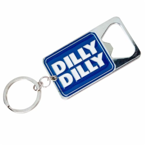 Budweiser 46573 Budweiser Bud Light Dilly Dilly Metallic Bottle Opener Keychain Perspective: front