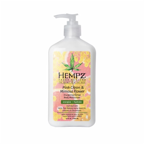 Hempz Fresh Fusions Pink Citron & Mimosa Flower Energizing Herbal Body Moisturizer Perspective: front