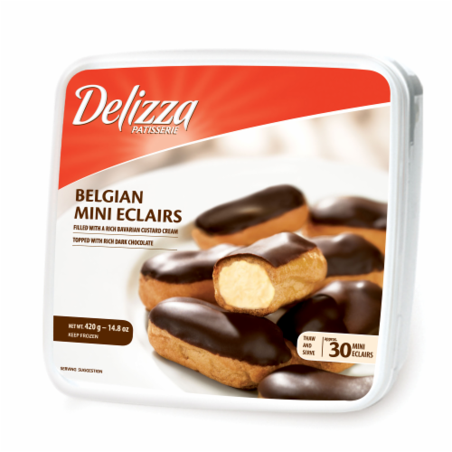 Delizza Belgian Dark Chocolate Mini Eclairs 30 Count Perspective: front