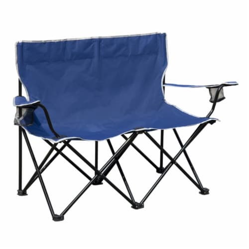 Rio Brands 1 position Blue Love Seat Quad Chair - Case Of: 4; Perspective: front