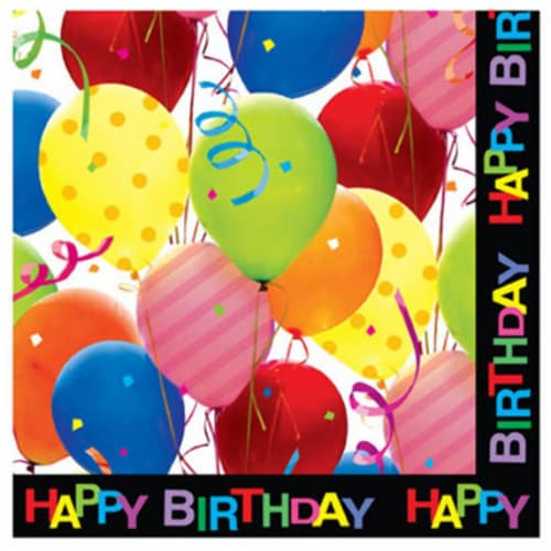 DDI 1883099 Happy Birthday Balloons Printed Napkins Case of 36 Perspective: front