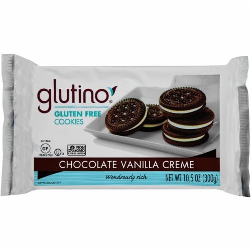 Glutino Gluten Free Chocolate Vanilla Creme Cookies Perspective: front