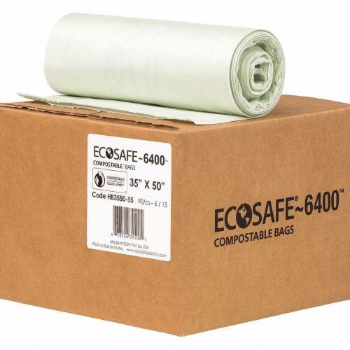 Ecosafe-6400 Trash Bag,39 gal.,Green,PK90  HB3550-8 Perspective: front