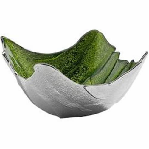 Godinger 44479 Green & Silver Square Bowl Perspective: front