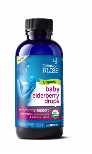 Mommy's Bliss Organic Baby Elderberry Immunity Boost Drops Perspective: front