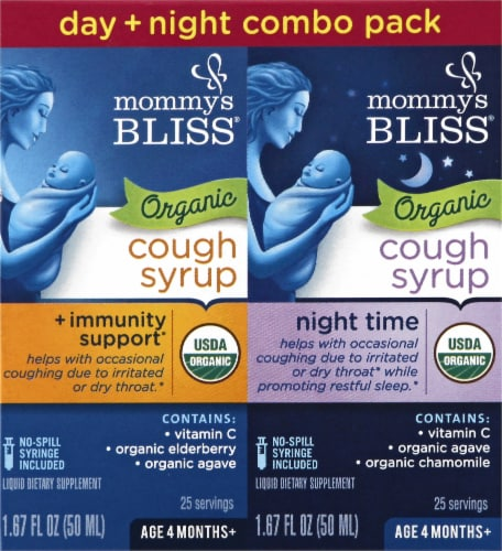 Mommy's Bliss Organic Cough Syrup & Mucus Relief Day & Night Combo Pack Perspective: front
