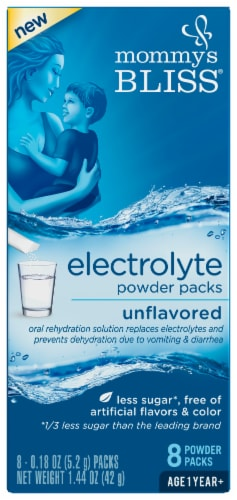 Mommy's Bliss Unflavored Electrolyte Powder 8 Count Perspective: front