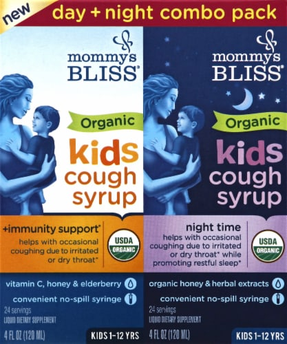 Mommy's Bliss Organic Kids Cough Syrup & Mucus Relief + Immunity Boost Liquid Combo Pack Perspective: front