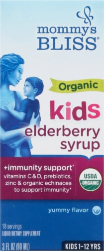 Mommy's Bliss  Organic Elderberry Syrup + Immunity Boost Liquid Kids 1-12 Years Perspective: front