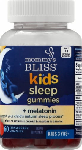 Mommy's Bliss Kids Sleep Strawberry Gummies Perspective: front