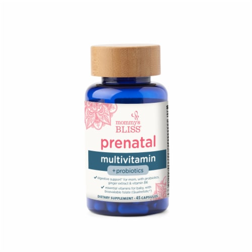Mommy's Bliss Prenatal Multivitamin + Probiotics Capsules Perspective: front