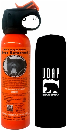 UDAP Safety Orange Bear Spray with Hip Holster Perspective: front