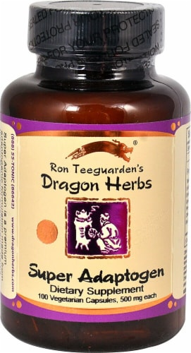 Dragon Herbs Super Adaptogen Dietary Supplement Capsules 500mg Perspective: front