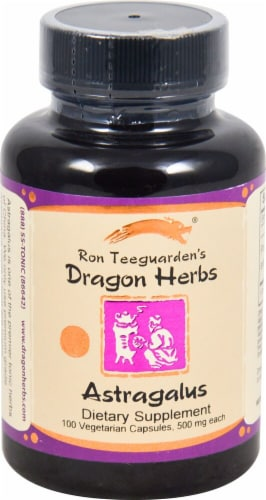 Dragon Herbs Astragalus Dietary Supplement Capsules 500mg Perspective: front
