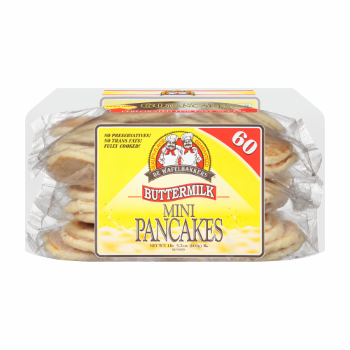 De Wafelbakkers Buttermilk Mini Pancakes 60 Count Perspective: front