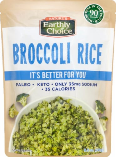 Nature's Earthly Choice Microwaveable Broccoli Rice Perspective: front