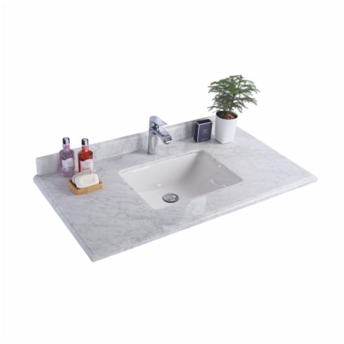 """White Carrara Marble Countertop - 42"""" - Single Hole with Rectangular Sink Perspective: front"""