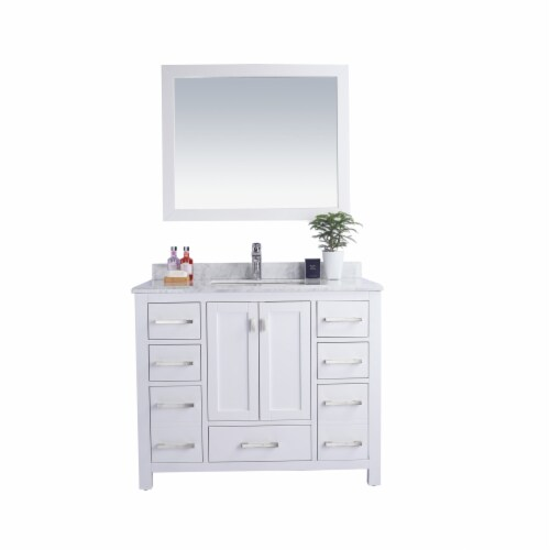 Wilson 42 - White Cabinet + White Carrara Marble Countertop Perspective: front
