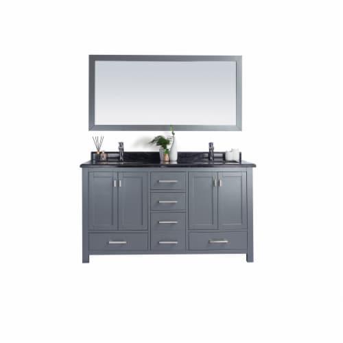 Wilson 60 - Grey Cabinet + Black Wood Marble Countertop Perspective: front