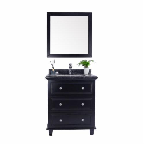 Luna - 30 - Espresso Cabinet + Black Wood Marble Countertop Perspective: front